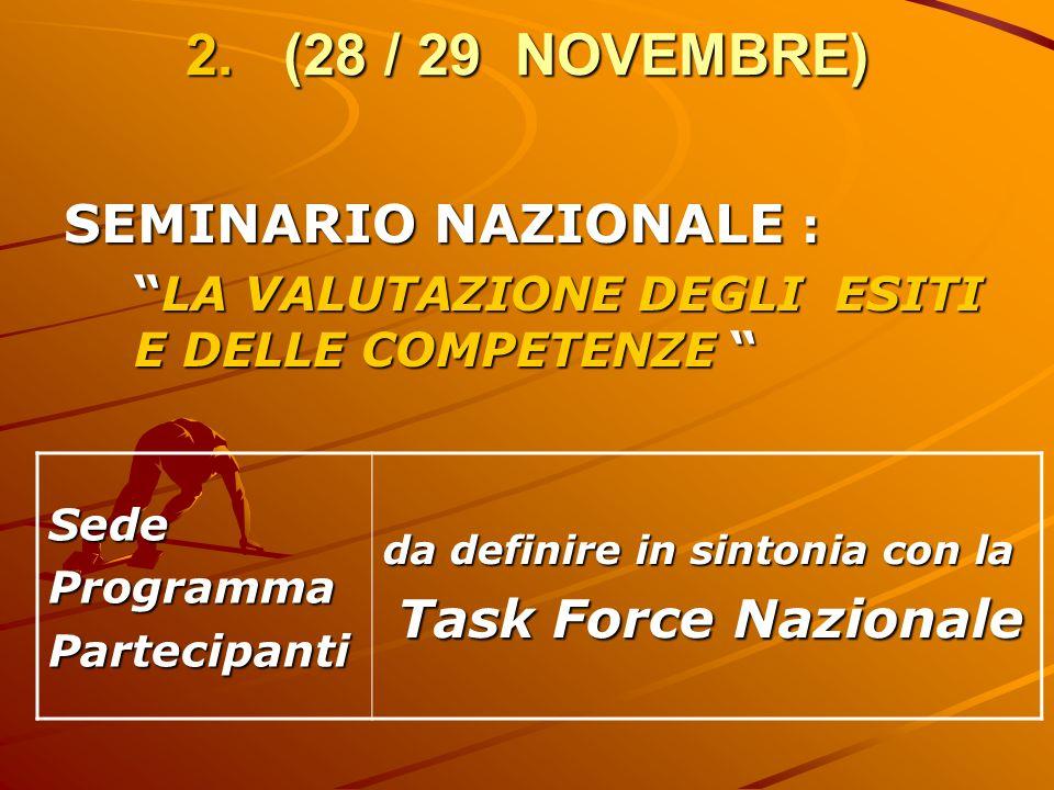 2. (28 / 29 NOVEMBRE) SEMINARIO NAZIONALE : LA VALUTAZIONE DEGLI ESITI E DELLE COMPETENZELA VALUTAZIONE DEGLI ESITI E DELLE COMPETENZE SedeProgrammaPa