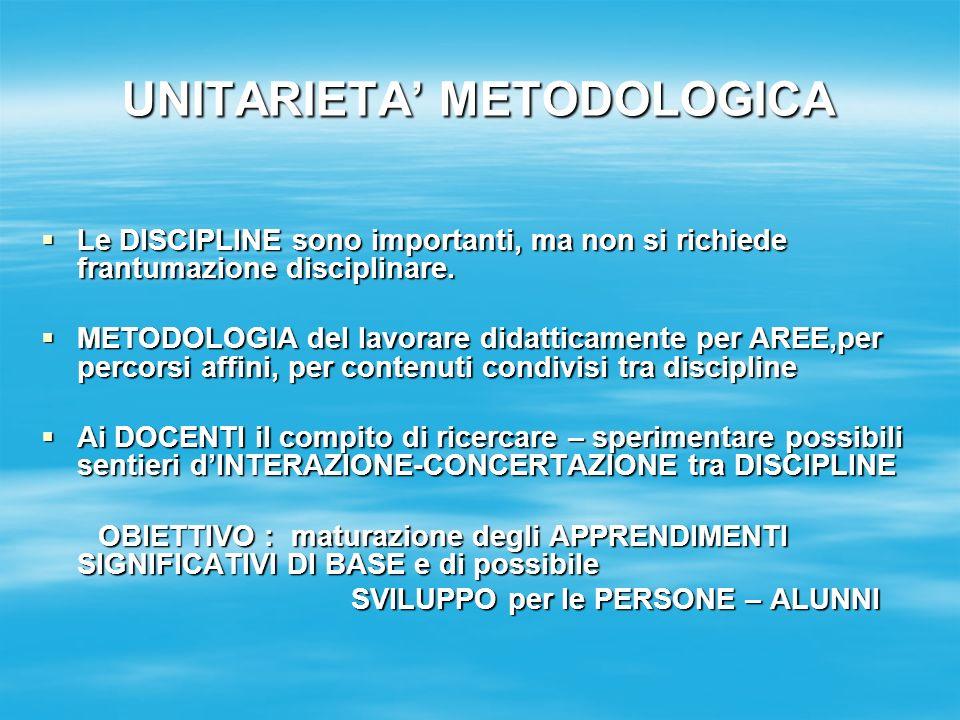 UNITARIETA METODOLOGICA Le DISCIPLINE sono importanti, ma non si richiede frantumazione disciplinare.
