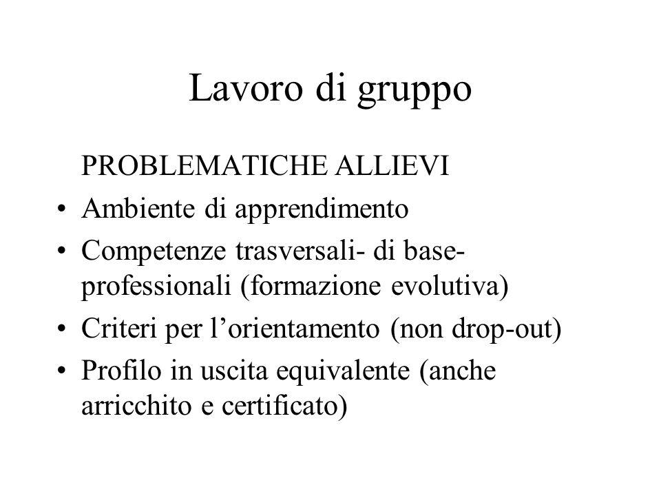 Lavoro di gruppo PROBLEMATICHE ALLIEVI Ambiente di apprendimento Competenze trasversali- di base- professionali (formazione evolutiva) Criteri per lorientamento (non drop-out) Profilo in uscita equivalente (anche arricchito e certificato)