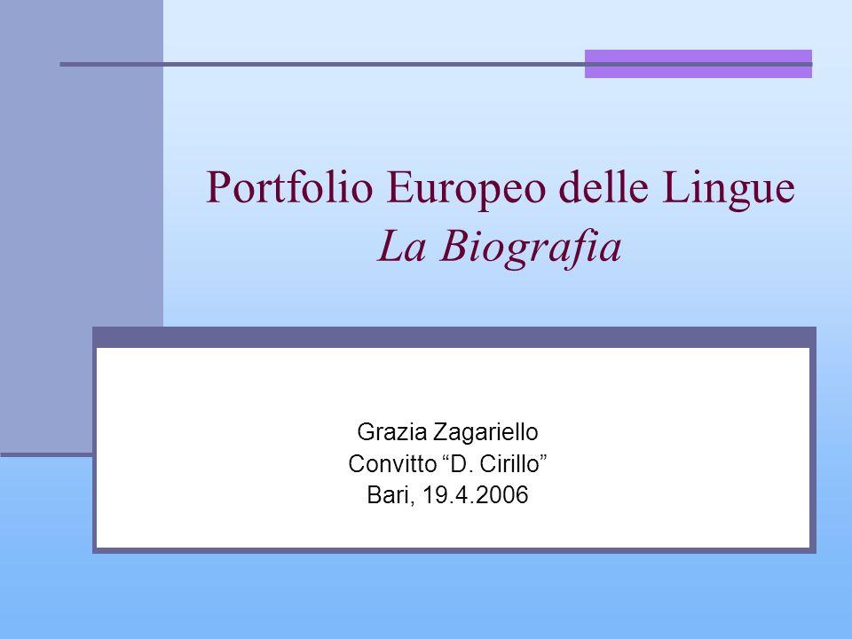 Portfolio Europeo delle Lingue La Biografia Grazia Zagariello Convitto D. Cirillo Bari, 19.4.2006