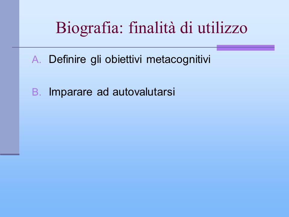 Biografia: finalità di utilizzo A. Definire gli obiettivi metacognitivi B. Imparare ad autovalutarsi