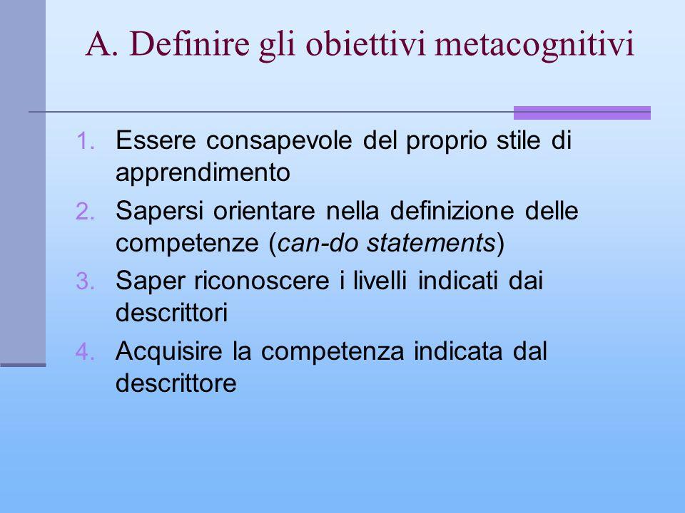 A. Definire gli obiettivi metacognitivi 1. Essere consapevole del proprio stile di apprendimento 2. Sapersi orientare nella definizione delle competen