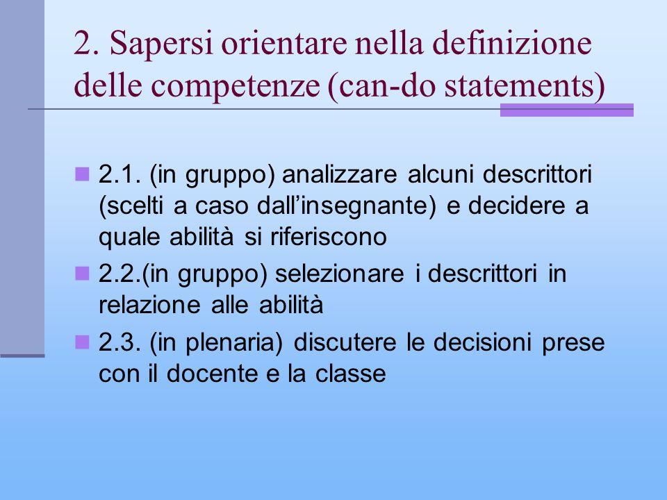 2. Sapersi orientare nella definizione delle competenze (can-do statements) 2.1. (in gruppo) analizzare alcuni descrittori (scelti a caso dallinsegnan