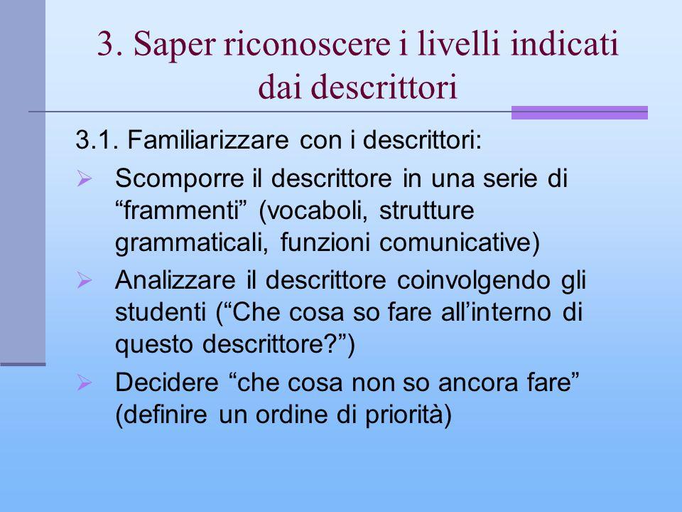 3. Saper riconoscere i livelli indicati dai descrittori 3.1. Familiarizzare con i descrittori: Scomporre il descrittore in una serie di frammenti (voc
