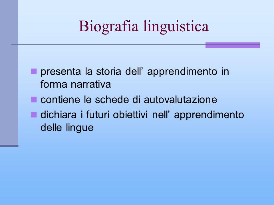 Biografia linguistica presenta la storia dell apprendimento in forma narrativa contiene le schede di autovalutazione dichiara i futuri obiettivi nell