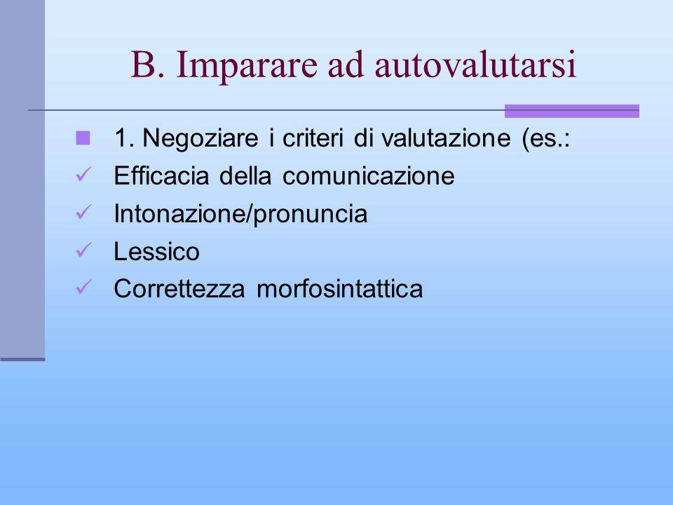 B. Imparare ad autovalutarsi 1. Negoziare i criteri di valutazione (es.: Efficacia della comunicazione Intonazione/pronuncia Lessico Correttezza morfo