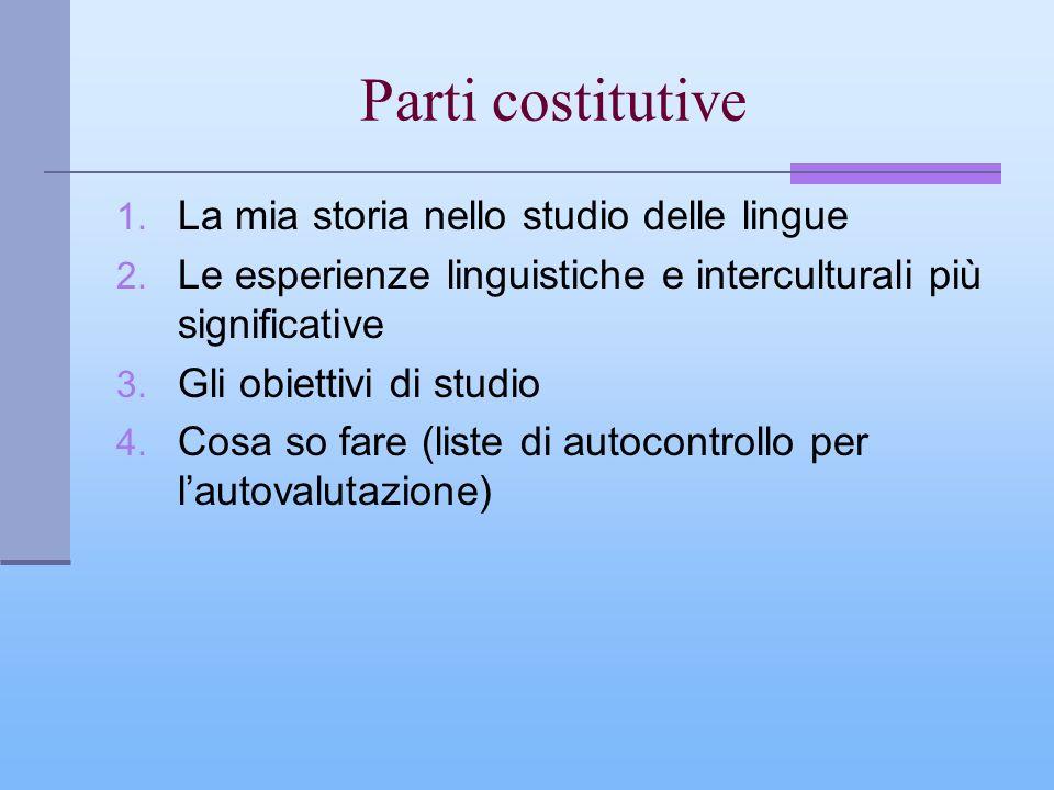 Parti costitutive 1. La mia storia nello studio delle lingue 2. Le esperienze linguistiche e interculturali più significative 3. Gli obiettivi di stud