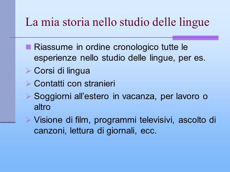 La mia storia nello studio delle lingue Riassume in ordine cronologico tutte le esperienze nello studio delle lingue, per es. Corsi di lingua Contatti