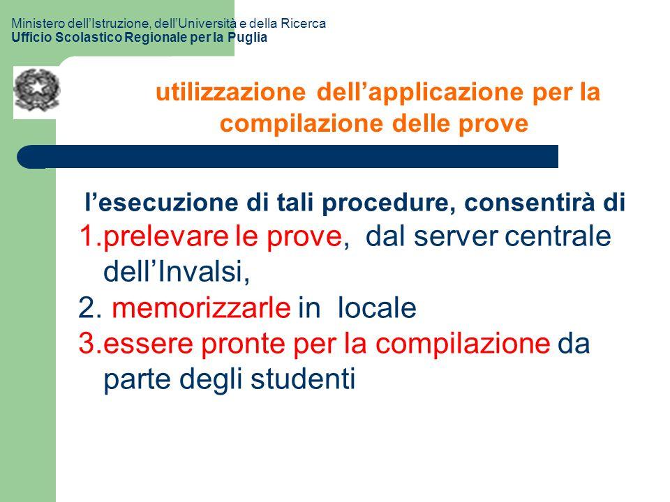 utilizzazione dellapplicazione per la compilazione delle prove lesecuzione di tali procedure, consentirà di 1.prelevare le prove, dal server centrale dellInvalsi, 2.