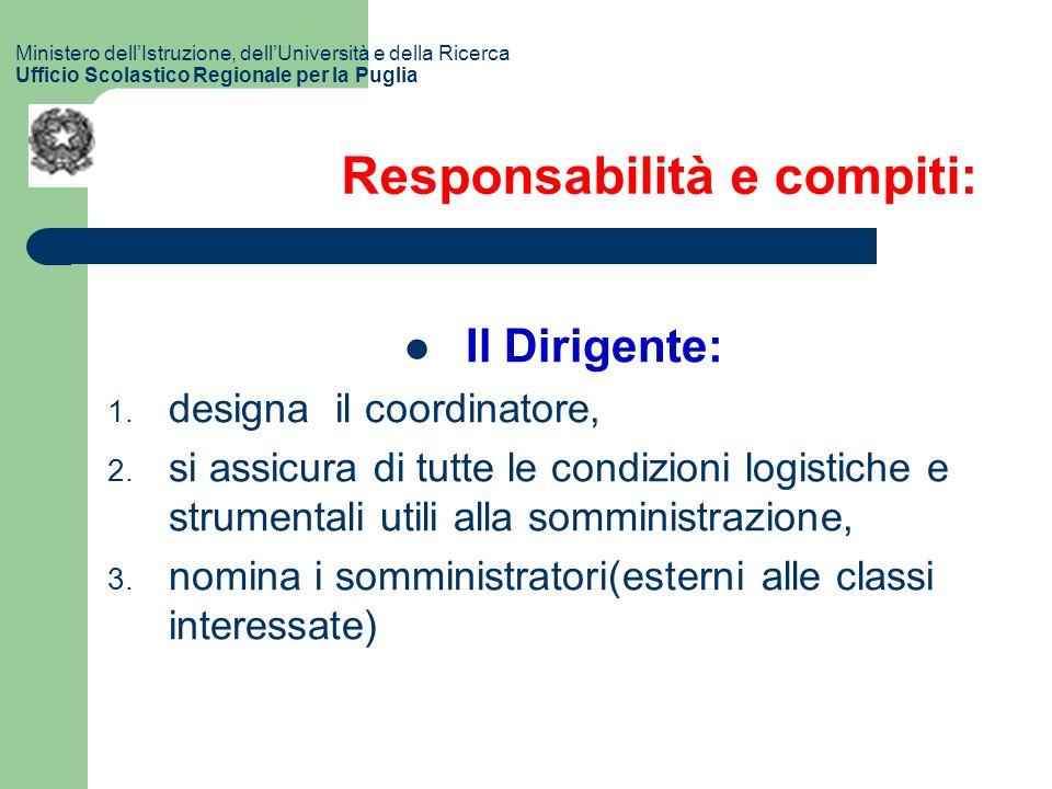 Responsabilità e compiti: Il Dirigente: 1. designa il coordinatore, 2.