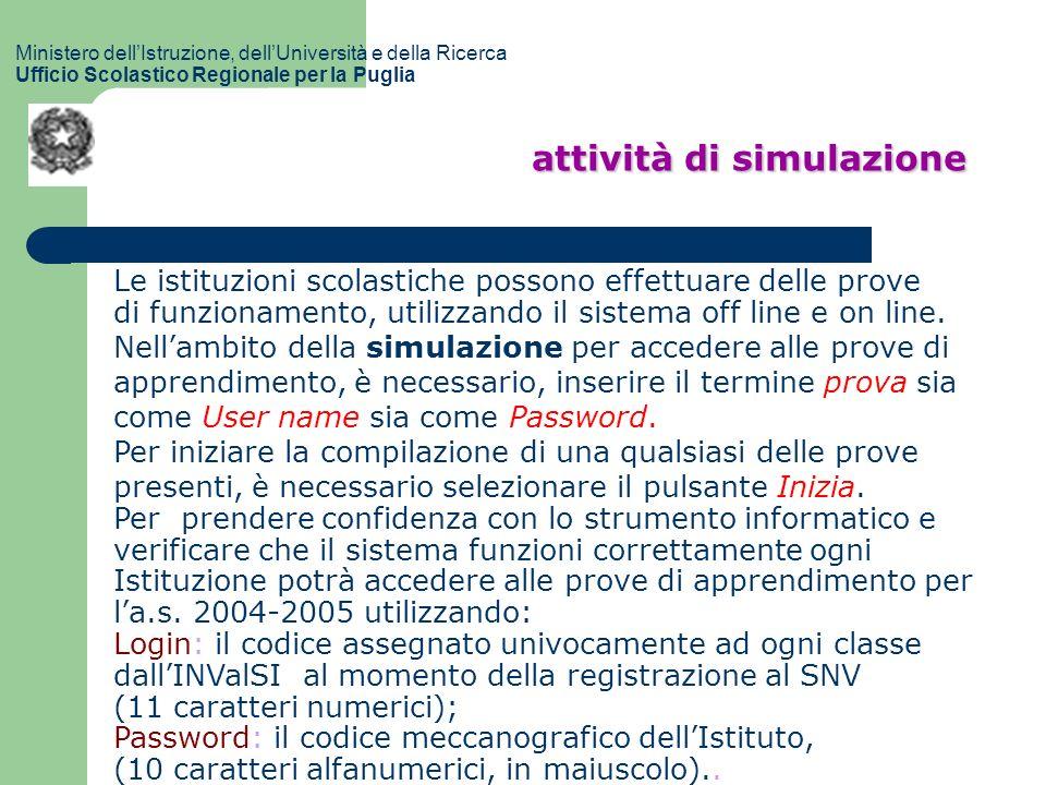 attività di simulazione Ministero dellIstruzione, dellUniversità e della Ricerca Ufficio Scolastico Regionale per la Puglia Le istituzioni scolastiche possono effettuare delle prove di funzionamento, utilizzando il sistema off line e on line.