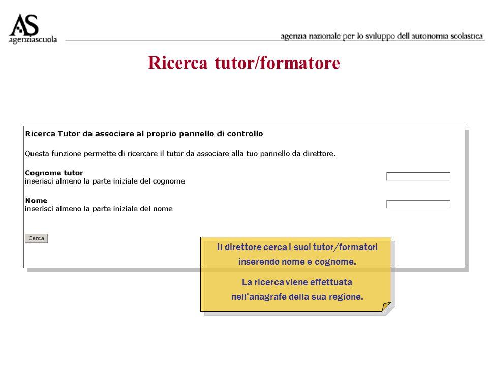 Ricerca tutor/formatore Il direttore cerca i suoi tutor/formatori inserendo nome e cognome.