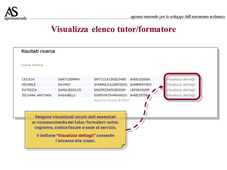 Visualizza elenco tutor/formatore Vengono visualizzati alcuni dati essenziali al riconoscimento dei tutor/formatori: nome, cognome, codice fiscale e sede di servizio.