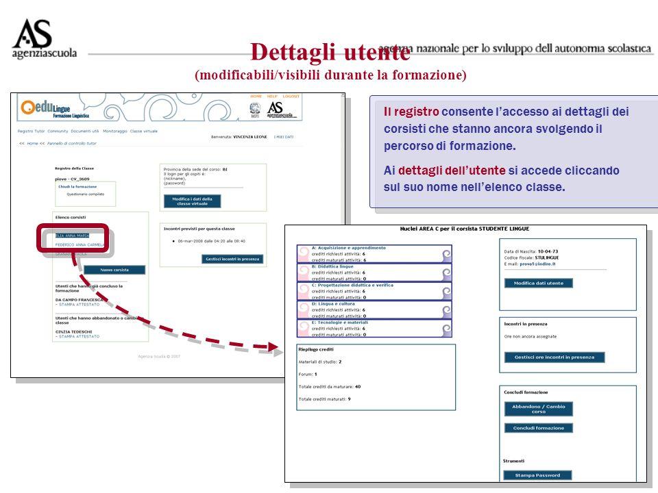 Il registro consente laccesso ai dettagli dei corsisti che stanno ancora svolgendo il percorso di formazione.