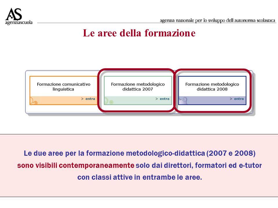 Le due aree per la formazione metodologico-didattica (2007 e 2008) sono visibili contemporaneamente solo dai direttori, formatori ed e-tutor con classi attive in entrambe le aree.