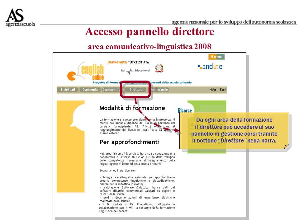 Accesso pannello direttore area comunicativo-linguistica 2008 Da ogni area della formazione il direttore può accedere al suo pannello di gestione corsi tramite il bottone Direttore nella barra.