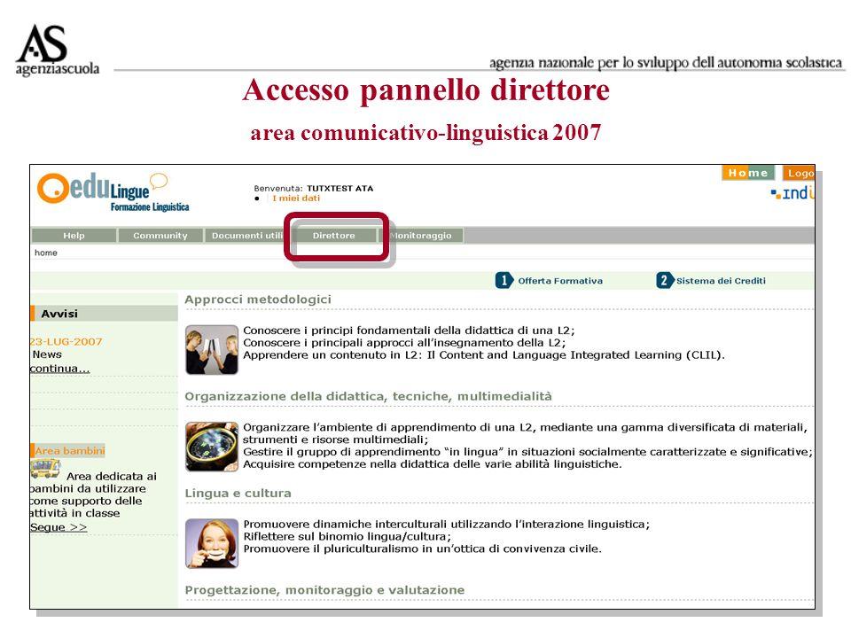 Accesso pannello direttore area comunicativo-linguistica 2007