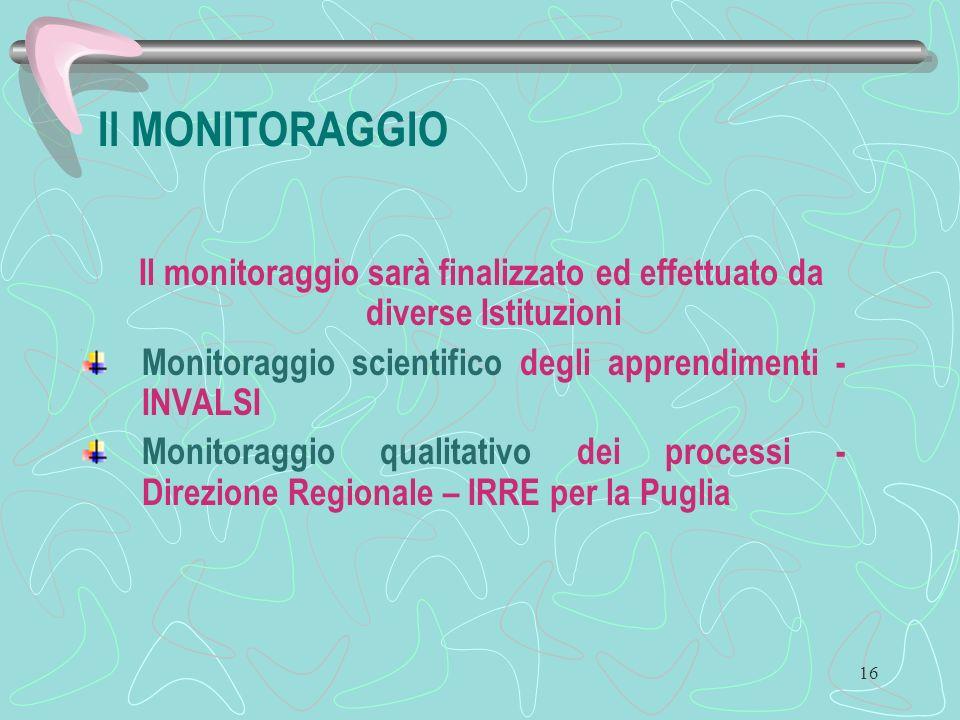16 Il MONITORAGGIO Il monitoraggio sarà finalizzato ed effettuato da diverse Istituzioni Monitoraggio scientifico degli apprendimenti - INVALSI Monitoraggio qualitativo dei processi - Direzione Regionale – IRRE per la Puglia