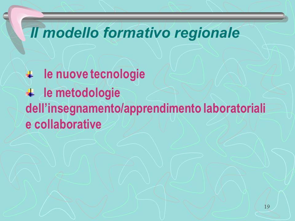 19 Il modello formativo regionale le nuove tecnologie le metodologie dellinsegnamento/apprendimento laboratoriali e collaborative