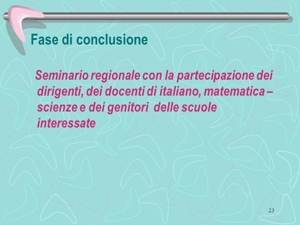 23 Fase di conclusione Seminario regionale con la partecipazione dei dirigenti, dei docenti di italiano, matematica – scienze e dei genitori delle scuole interessate