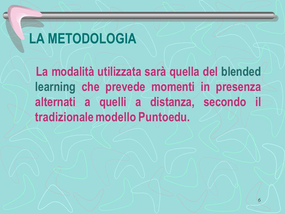 6 LA METODOLOGIA La modalità utilizzata sarà quella del blended learning che prevede momenti in presenza alternati a quelli a distanza, secondo il tradizionale modello Puntoedu.