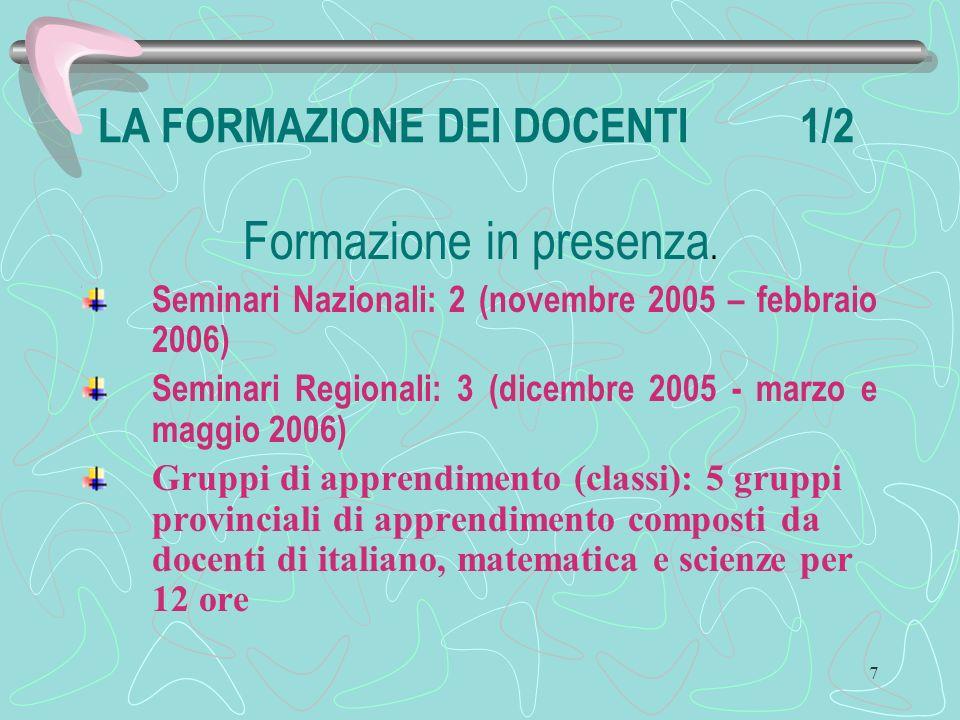 7 LA FORMAZIONE DEI DOCENTI 1/2 Formazione in presenza.
