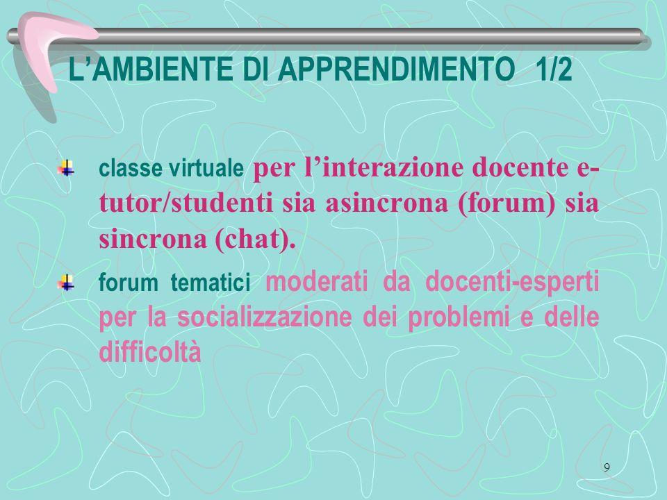 9 LAMBIENTE DI APPRENDIMENTO 1/2 classe virtuale per linterazione docente e- tutor/studenti sia asincrona (forum) sia sincrona (chat).