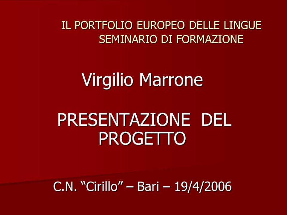 IL PORTFOLIO EUROPEO DELLE LINGUE SEMINARIO DI FORMAZIONE IL PORTFOLIO EUROPEO DELLE LINGUE SEMINARIO DI FORMAZIONE Virgilio Marrone PRESENTAZIONE DEL PROGETTO PRESENTAZIONE DEL PROGETTO C.N.