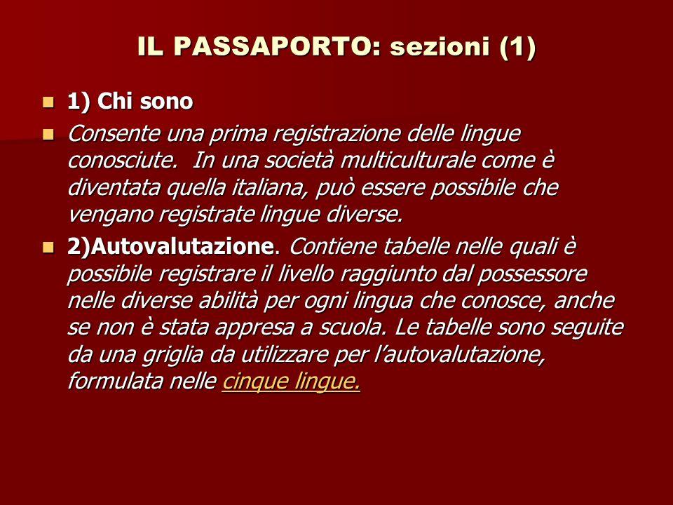 IL PASSAPORTO: sezioni (1) 1) Chi sono 1) Chi sono Consente una prima registrazione delle lingue conosciute.