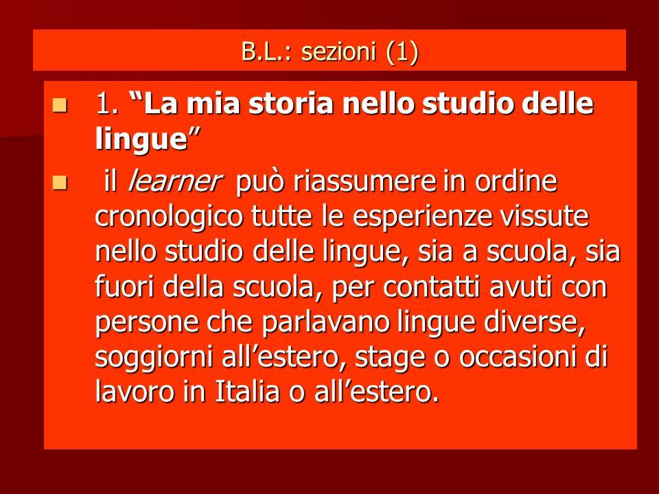 B.L.: sezioni (1) 1. La mia storia nello studio delle lingue 1.