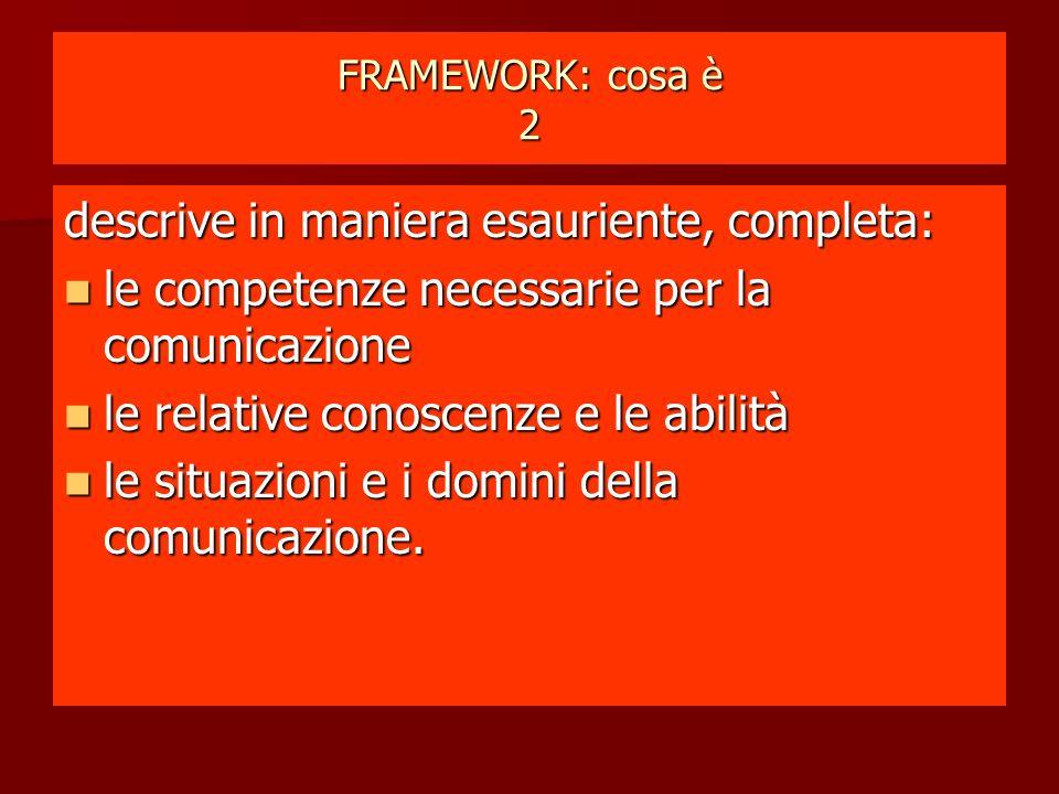 FRAMEWORK: cosa è 2 descrive in maniera esauriente, completa: le competenze necessarie per la comunicazione le competenze necessarie per la comunicazione le relative conoscenze e le abilità le relative conoscenze e le abilità le situazioni e i domini della comunicazione.