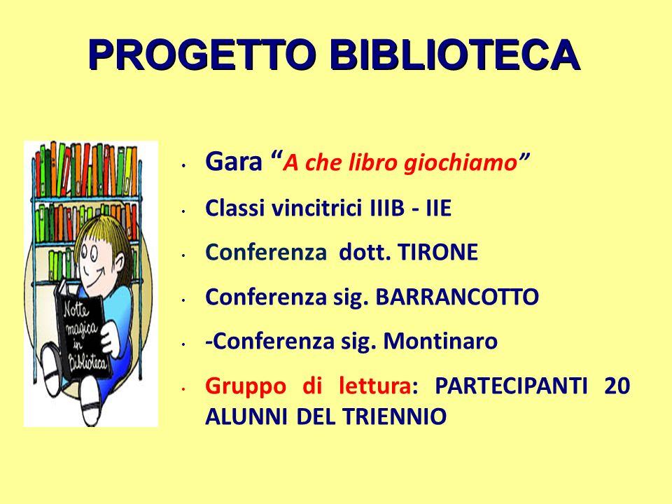 PROGETTO BIBLIOTECA Gara A che libro giochiamo Classi vincitrici IIIB - IIE Conferenza dott. TIRONE Conferenza sig. BARRANCOTTO -Conferenza sig. Monti