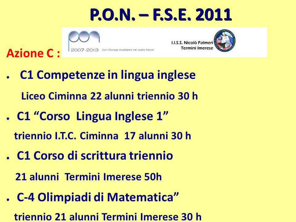 P.O.N. – F.S.E. 2011 Azione C : C1 Competenze in lingua inglese Liceo Ciminna 22 alunni triennio 30 h C1 Corso Lingua Inglese 1 triennio I.T.C. Ciminn