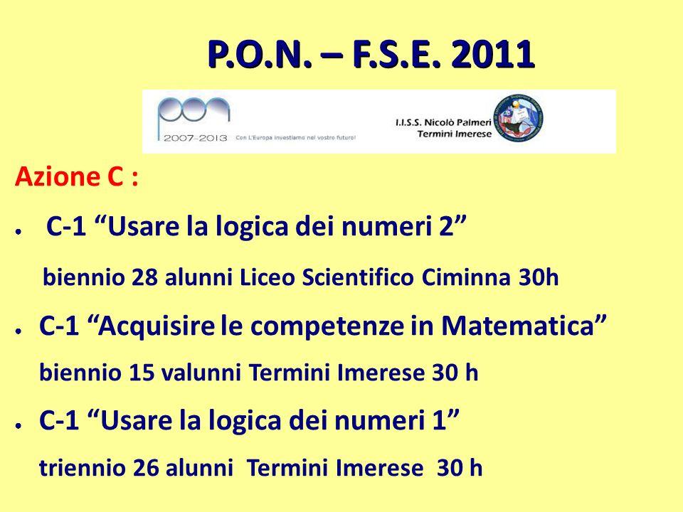 P.O.N. – F.S.E. 2011 Azione C : C-1 Usare la logica dei numeri 2 biennio 28 alunni Liceo Scientifico Ciminna 30h C-1 Acquisire le competenze in Matema