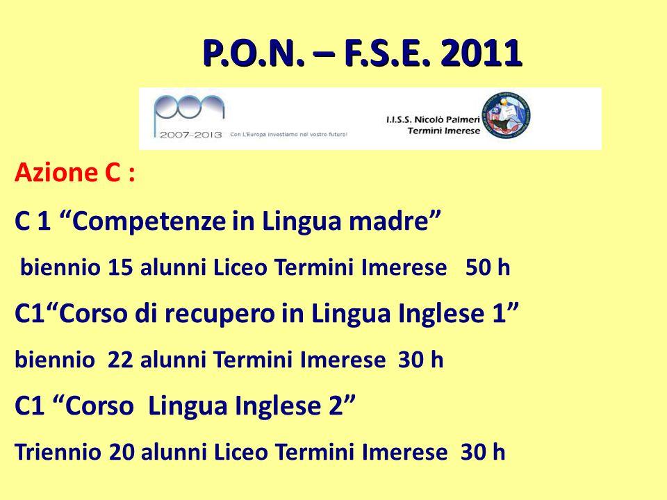 P.O.N. – F.S.E. 2011 Azione C : C 1 Competenze in Lingua madre biennio 15 alunni Liceo Termini Imerese 50 h C1Corso di recupero in Lingua Inglese 1 bi
