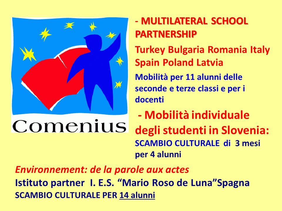 MULTILATERAL SCHOOL PARTNERSHIP - MULTILATERAL SCHOOL PARTNERSHIP Turkey Bulgaria Romania Italy Spain Poland Latvia Mobilità per 11 alunni delle secon