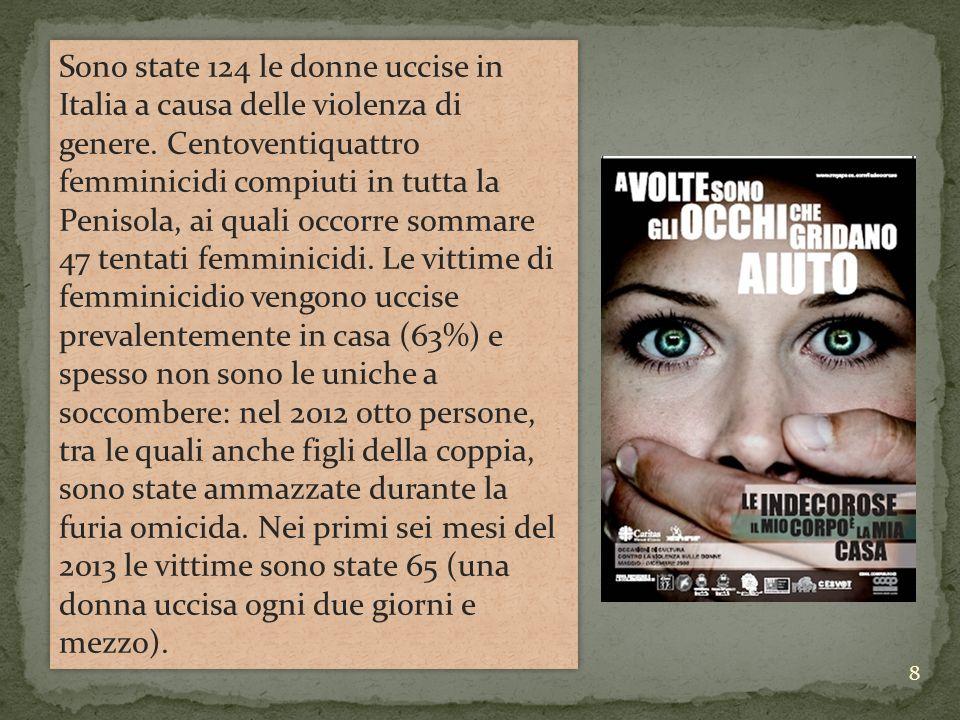 Sono state 124 le donne uccise in Italia a causa delle violenza di genere.