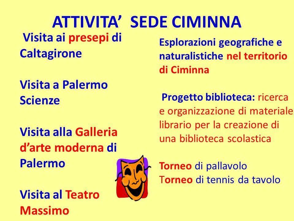 ATTIVITA SEDE CIMINNA Visita ai presepi di Caltagirone Visita a Palermo Scienze Visita alla Galleria darte moderna di Palermo Visita al Teatro Massimo