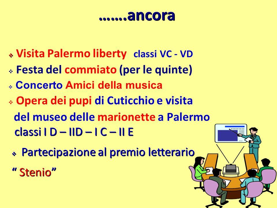 …….ancora Visita Palermo liberty classi VC - VD Festa del commiato (per le quinte) Concerto Amici della musica Opera dei pupi di Cuticchio e visita de