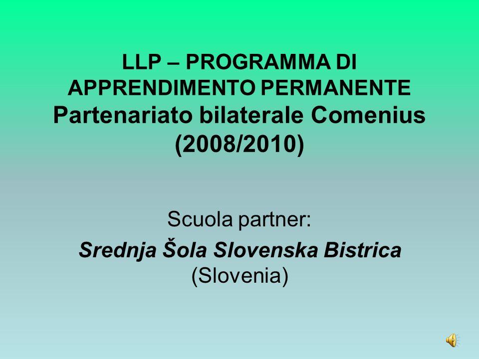 LLP – PROGRAMMA DI APPRENDIMENTO PERMANENTE Partenariato bilaterale Comenius (2008/2010) Scuola partner: Srednja Šola Slovenska Bistrica (Slovenia)