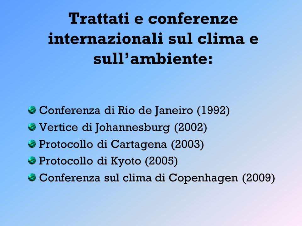 Trattati e conferenze internazionali sul clima e sullambiente: Conferenza di Rio de Janeiro (1992) Vertice di Johannesburg (2002) Protocollo di Cartag