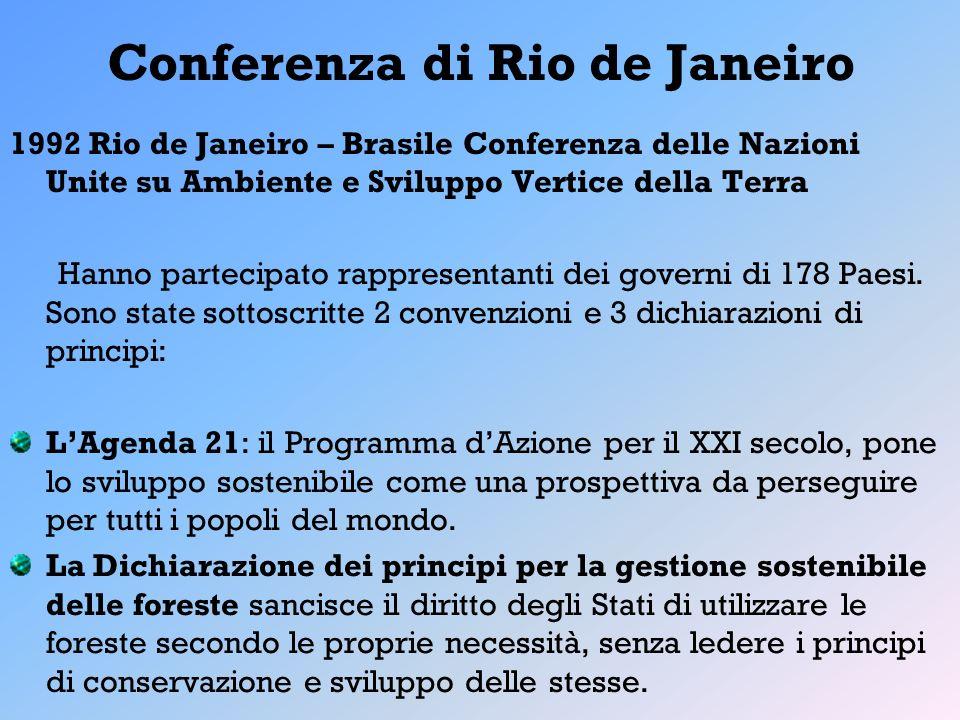 Conferenza di Rio de Janeiro 1992 Rio de Janeiro – Brasile Conferenza delle Nazioni Unite su Ambiente e Sviluppo Vertice della Terra Hanno partecipato