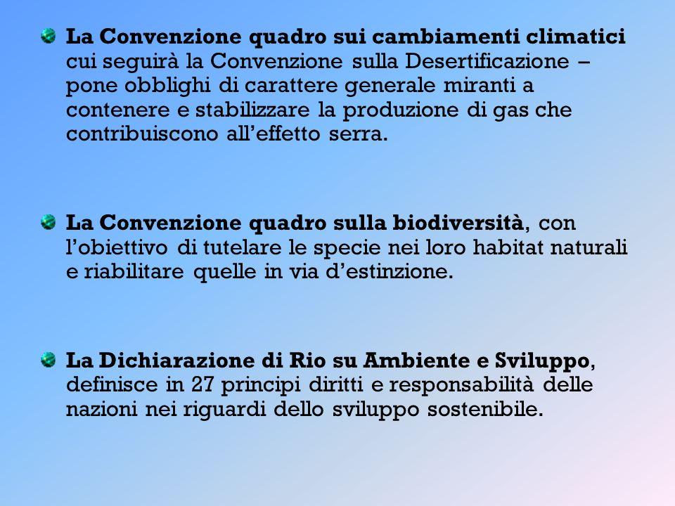 La Convenzione quadro sui cambiamenti climatici cui seguirà la Convenzione sulla Desertificazione – pone obblighi di carattere generale miranti a cont