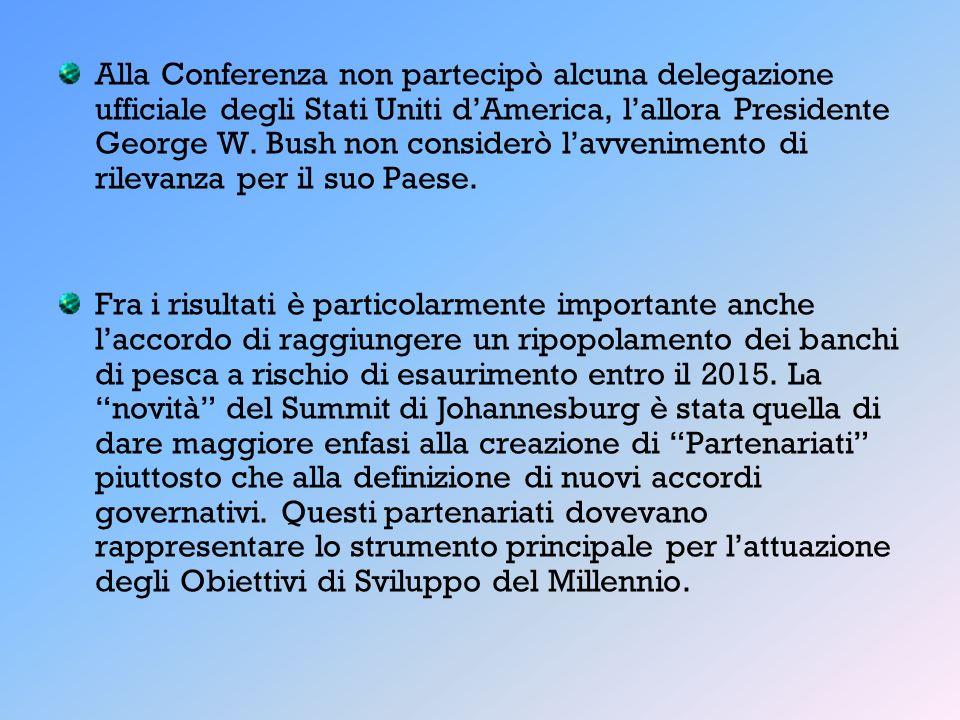 Alla Conferenza non partecipò alcuna delegazione ufficiale degli Stati Uniti dAmerica, lallora Presidente George W. Bush non considerò lavvenimento di