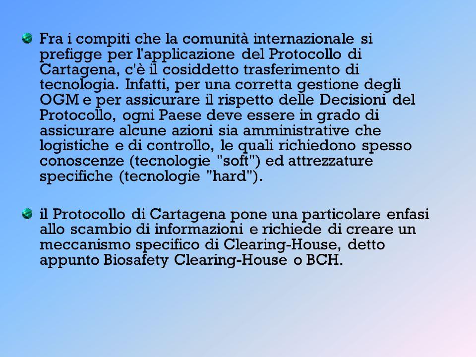 Fra i compiti che la comunità internazionale si prefigge per l'applicazione del Protocollo di Cartagena, c'è il cosiddetto trasferimento di tecnologia