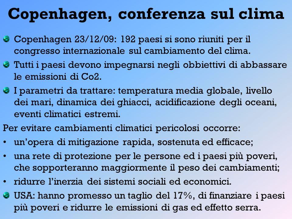 Copenhagen, conferenza sul clima Copenhagen 23/12/09: 192 paesi si sono riuniti per il congresso internazionale sul cambiamento del clima. Tutti i pae