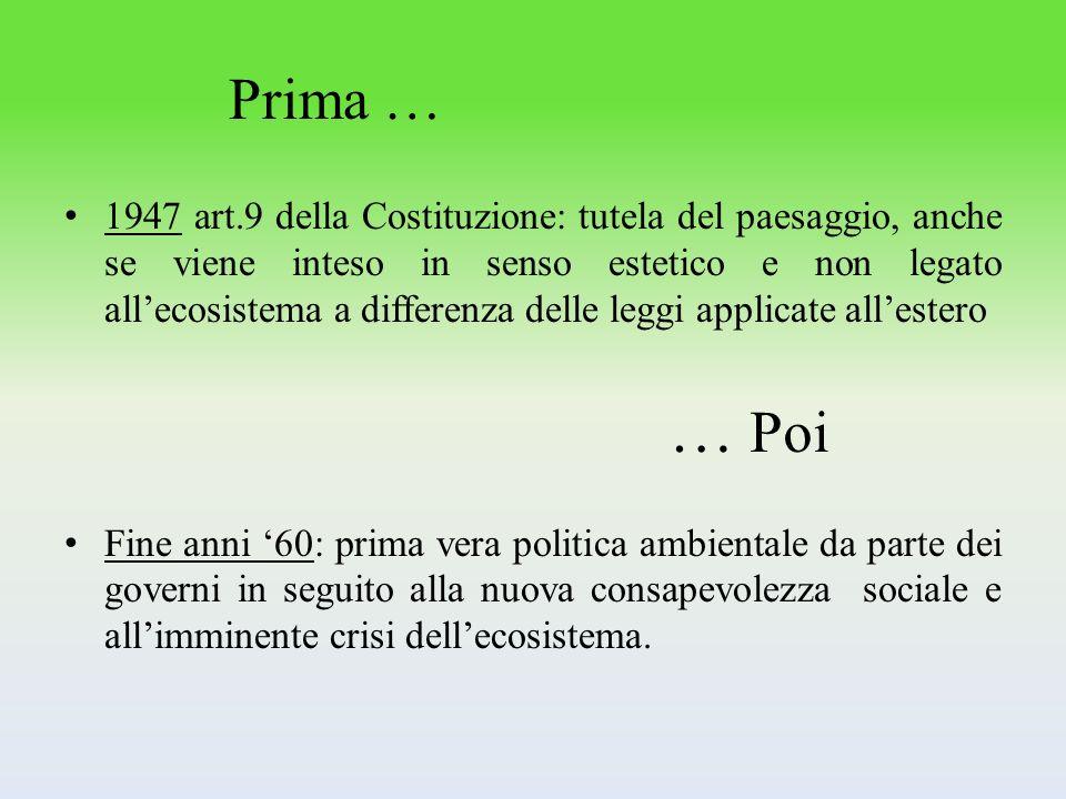 Primi Passi : Metà anni 70: la politica ambientale è stata dichiarata compito comunitario.