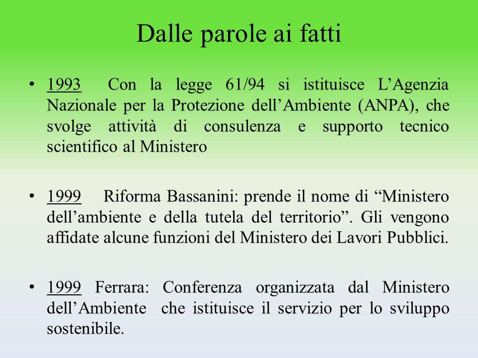 Dalle parole ai fatti 1993 Con la legge 61/94 si istituisce LAgenzia Nazionale per la Protezione dellAmbiente (ANPA), che svolge attività di consulenz