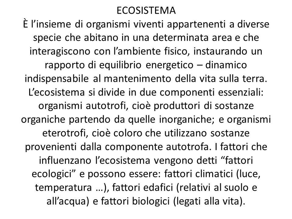 ECOSISTEMA Ѐ linsieme di organismi viventi appartenenti a diverse specie che abitano in una determinata area e che interagiscono con lambiente fisico,