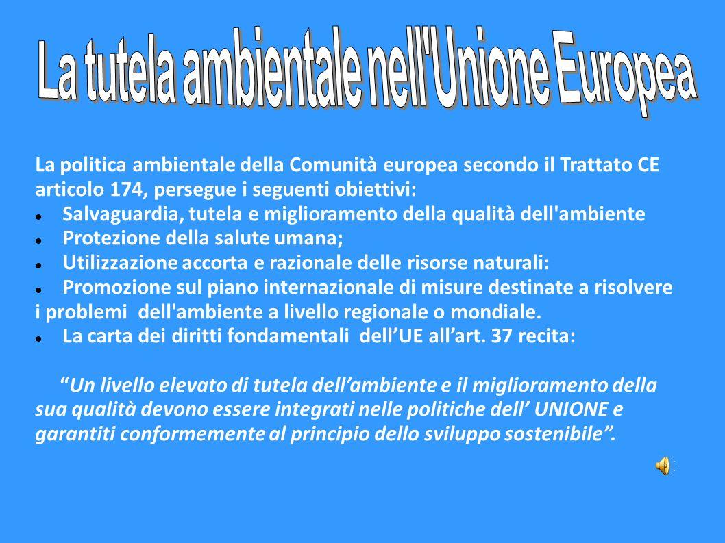 La politica ambientale della Comunità europea secondo il Trattato CE articolo 174, persegue i seguenti obiettivi: Salvaguardia, tutela e miglioramento